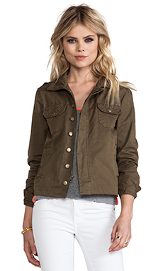 Bobi Military Button Up Jacket in Army Green