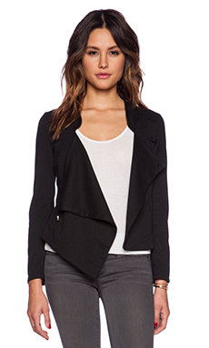 Bobi Knit Boucle Cross Front Jacket in Black