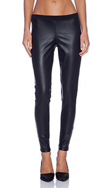 Bobi Spandex Faux Leather Legging in Black