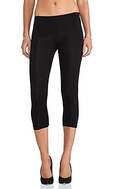 Bobi Cotton Lycra Cropped Leggings in Black