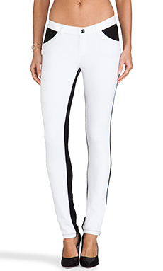 Bobi Skinny Pants with Leather in White & Black