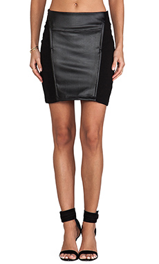 Bobi Skirt with Leather in Black