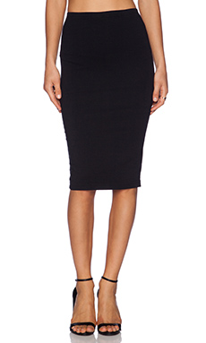 Bobi Cotton Lycra Pencil Skirt in Black