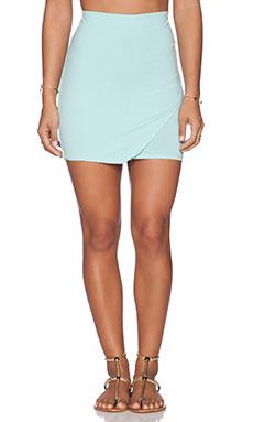 Bobi Cotton Lycra Wrap Mini Skirt in Bubble Blue