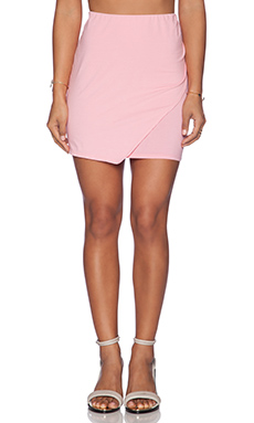 Bobi Cotton Lycra Wrap Mini Skirt in Bunny Pink