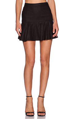 Bobi BLACK Stretch Linen Flare Mini Skirt in Black