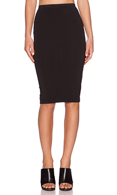 Bobi Cotton Lycra Skirt in Black