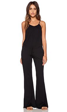 Bobi Modal Jersey Wide Leg Jumpsuit in Black