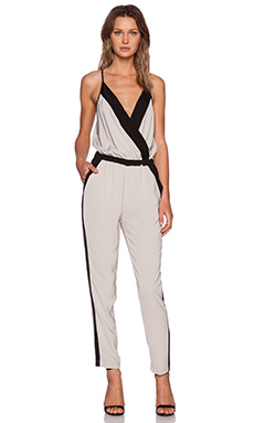 Bobi Georgette Jumpsuit in Sand & Black