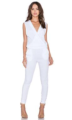 Bobi Supreme Jersey V Neck Jumpsuit in White