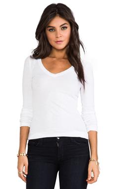 Bobi Light Weight Jersey V Neck Long Sleeve in White