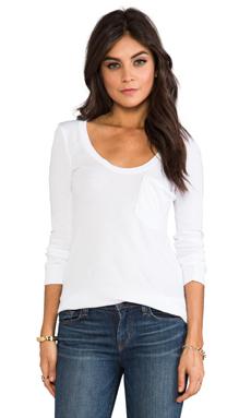 Bobi Lightweight Jersey Long Sleeve Pocket Tee in White