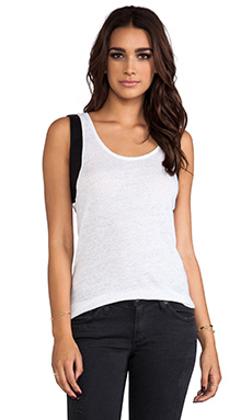 Bobi Linen Tank with Leather in White