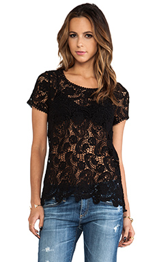 Bobi Crochet Lace Tee in Black