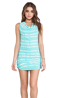 Bobi Light Weight Jersey Tie Dye Tank Dress in Aqua