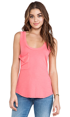Bobi Light Weight Jersey Pocket Tank in Sunset