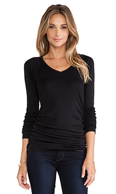 Bobi V Neck Long Sleeve Tee in Black