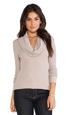 Bobi Thermal Cowl Neck Long Sleeve in Taupe