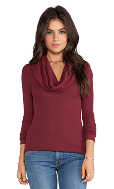 Bobi Thermal Cowl Neck Long Sleeve in Vineyard