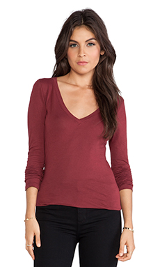Bobi Light Weight Jersey V Neck Long Sleeve in Vineyard