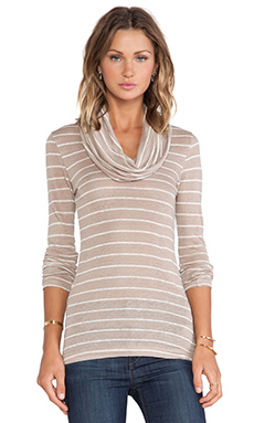 Bobi Long Sleeve Cowl Neck Tee in Taupe & Light