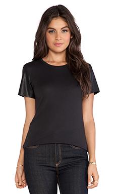Bobi Vegan Leather Short Sleeve Tee in Black