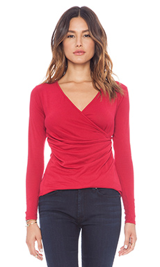 Bobi Long Sleeve Wrap Top in Redwine