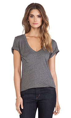 Bobi V Neck Pocket Tee in Dark Heather