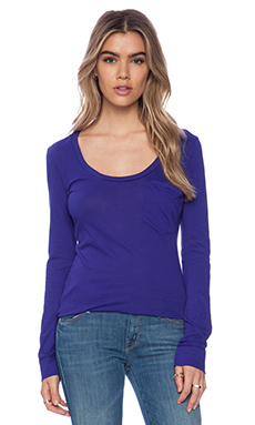 Bobi Light Weight Jersey Long Sleeve Pocket Tee in Blue Jaz