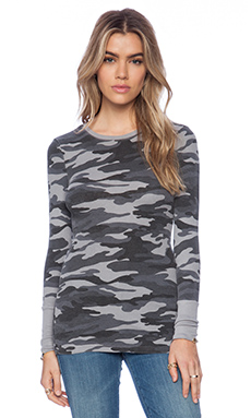 Bobi Printed Modal Thermal Long Sleeve Tee in Grey Camo