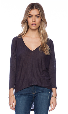 Bobi Linen Dolman Long Sleeve Tee in Deep Grey