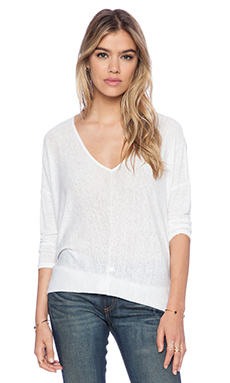 Bobi Linen Dolman Long Sleeve Tee in White