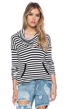 Bobi Striped Thermal Cowl Neck Long Sleeve Tee in Black & White