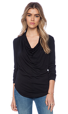 Bobi Modal Jersey Long Sleeve Cowl Neck Top in Black