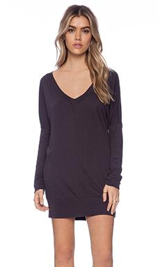 Bobi Light Weight Jersey Long Sleeve V Neck Dolman in Deep Grey