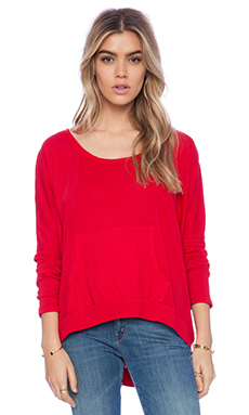 Bobi Light Weight Jersey Hooded Dolman Tunic in Deep Red