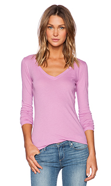 Bobi Light Weight Jersey Long Sleeve V Tee in Jellybean
