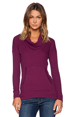 Bobi Modal Thermal Cowl Neck Pullover in Candy