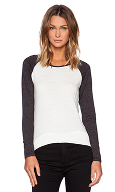 Bobi Peached Jersey Long Sleeve Raglan Tee in White & Charcoal