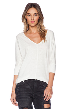 Bobi Peached Jersey Long Sleeve Dolman Tee in White