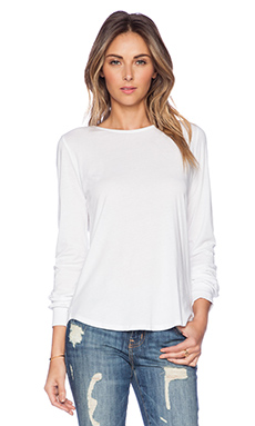 Bobi Modal Jersey Open Back Top in White