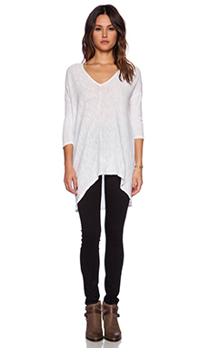 Bobi Cotton Slub Dolman 3/4 Sleeve Tunic in White