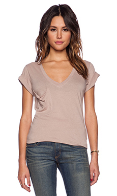 Bobi Light Weight Jersey V Neck Pocket Tee in Hot Cocoa