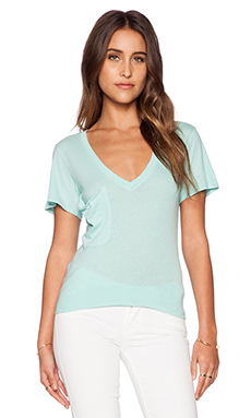 Bobi Light Weight Jersey V Neck Pocket Tee in Bubble Blue
