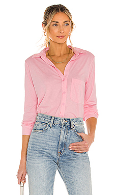Bobi Light Weight Jersey Button Up in Bunny Pink