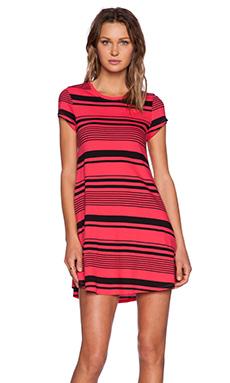 Bobi Runway Stripe Short Sleeve Top in Black & Light Raspberry