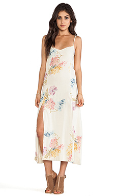 bohemian BONES 4 Slit Maxi Dress in Vintage Floral Print