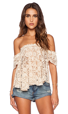 bohemian BONES Frisco Lace Penelope Top in Ivory