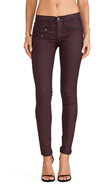 Black Orchid Coated Zipper Skinny in Outrageous Red