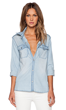 Black Orchid Boyfriend Military Shirt in Cool Waters